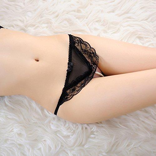 GCCUII 3er Pack Damen Panties Panty Datei öffnen Pearl transparente Spitze schwarz F - Pearl Damen Panty