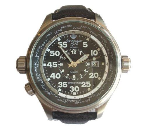 Aeromatic 1912 A1200 Aeromatic A1200 - Reloj , correa de cuero color negro