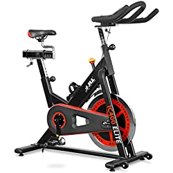 JLL IC400 ELITE Premium Indoor Cycling Exercise Bike, Direct Belt Driven 20kg Flywheel with Adjustable Friction Resistance, 3-Piece Crank, Large 6-Function Monitor, Emergency Stop System, Ergonomic Handlebars with Heart Rate Sensors, Fully Adjustable Seat, Built In Wheels, 12 Months Home Use Warranty Only