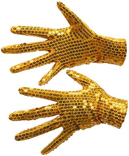 NMDD Tanzhandschuhe Paillettenhandschuhe Nachtclub Sänger Tanzperformance Glänzende Pailletten Kurze Handschuhe Arbeitshandschuhe (Farbe: Gold)