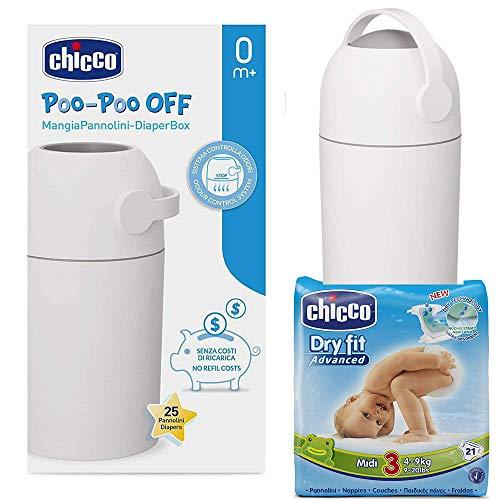 CHICCO Starter-Set: ODOUR OFF Windeleimer silber - geruchsdichtes System, herkömmliche Tüten verwendbar + CHICCO Windeln Midi Gr. 3 (4-9 kg)