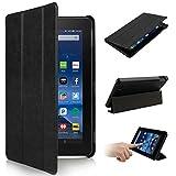 2015 New Fire 7' Hülle Fall Tasche -SOONHUA Premium-Leder-Folio-Standplatz-Fall-Schlag-Abdeckung für Amazon New Fire 7 ' Tablet (7-Zoll-Tablet, 5. Generation - 2015 Modell) (Black)