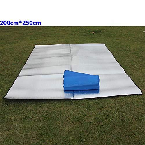 Leoie Sitzmatte Doppelseitige Faltbare wasserdichte Aluminiumfolie Pad tragbare kleine Picknick im Freien Camping Strandmatte Silber Doppelseitige 250 * 200 * 0,25 cm Stoffbeutel