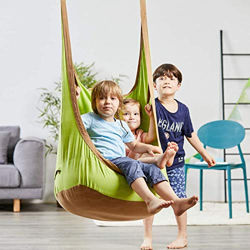 HAPPYPIE Hängehöhle,Hängesessel,Hängematten aus Baumwolle ideal,Indoor und Outdoor Geeignet für Kinder und Erwachsene (Grün)