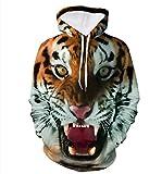 Rcool Männer Mode 3D Sportswear Tiger Hoodies Polyester lustige Pulli Kapuzenpullover Hip Hop-Bedruckte Kleidung Sweatshirts (XL)