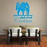 yiyiyaya Adesivo da Cucina Creativo Adesivi murali in Vinile per Cucina Sala da Pranzo Decorazione Adesivi murali Rimovibili Adesivo Carta da Parati murale Blu 30 cm x 32 cm