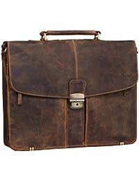47a30a2073578 Greenburry Vintage Aktentasche Lehrertasche in braun aus echtem pflanzlich  gegerbten Rindleder mit…