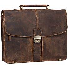 182416486dd1d Greenburry Vintage Aktentasche Lehrertasche in braun aus echtem pflanzlich  gegerbten Rindleder mit geteiltem Hauptfach