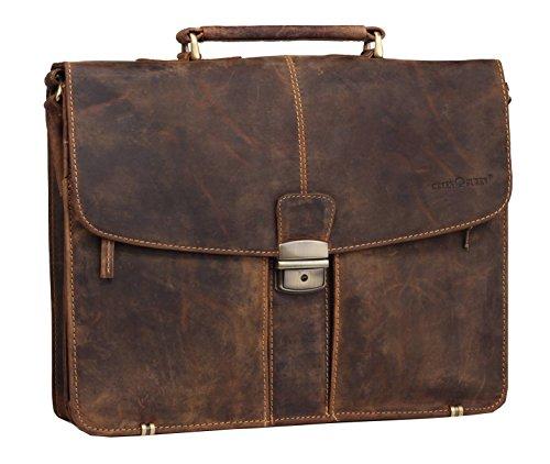 greenburry aktentasche Greenburry Vintage Aktentasche Lehrertasche in braun aus echtem pflanzlich gegerbten Rindleder mit geteiltem Hauptfach
