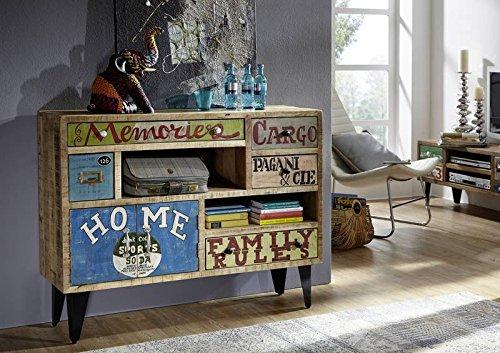 Legno di mango ferro mobili in legno massello in legno for Salotto stile industriale