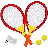 Raquetas Badminton Raqueta Tenis Niño con 2 Bádminton 2 Pelota de la PU Juguetes Playa Juegos Jardin per Niños 3 4 5
