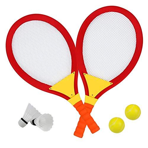 Racchette Badminton Bambini con 2 Volano Badminton 2 Palla da Tennis Giochi da Giardino Giocattoli Spiaggia per Bambini 3+