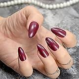 echiq bordeaux Vampire Farbe Absätzen Point Form False Nail Solid braun rot Full Cover Acryl künstliche Sharp Stiletto Fake Nägel