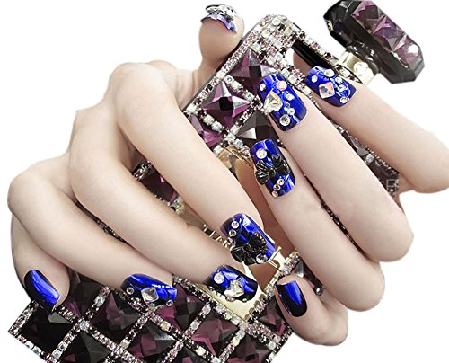 24 pièce style charmant Wedding Maquillage / 3D Design faux ongles, Bleu