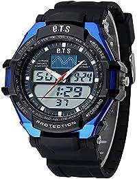 ufengke®Sport Outdoor wasserdicht calendar Dualzeit LED Licht Alarm Uhr Timer Licht armbanduhren für Männer Jungen-Blau