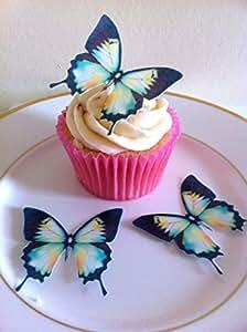 12 Schwarz, grün, gelb und weiß Schmetterling-Kuchen-Deckel-Dekorationen