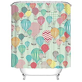 Qilerongrong Waterproof Polyester Fabric Bathroom Shower Curtain, Qile Mildew-Resistant Anti-Bacterial 3D Digital Printing Pattern Shower Curtains with 12 Ring Hooks, 180 x180cm (TZ170634)
