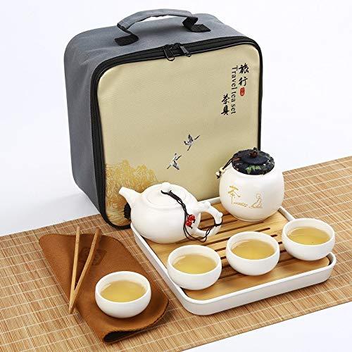 CHAJU 24 * 24 * 12 cm Reise-Tee-Set mit Ofen Kung Fu Keramik 1 Topf und 4 Tassen