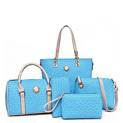 fanhappygo Fashion Retro Leder Frauen Geldbörsen Handtaschen Damen Crossbody Tasche Messenger Bag Tasche Tote 5 sets Himmelblau