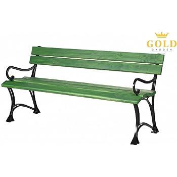 GOLD GARDEN Gartenbank Mit Armlehnen TOSKANA Massivholz Auf Aluminiumrahmen  Grün In 2 Größen (150 Cm