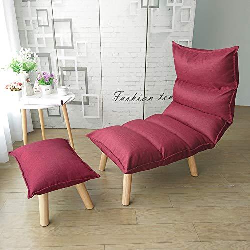 WEWE 6-Position Verstellbarer Bodenstuhl atmungsaktiv faul Couch Erker Klappstuhl mit Fußstütze für Meditation Gaming Reading