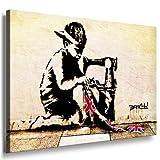 Image sur toile Banksy Graffiti Art Nr de 184986mural XXL Photos et Wallfillers Canvas images de toile montée sur cadre en bois-Dimensions au choix. pas poster ou Affiche/Moins cher comme peinture à/toile, châssis images, Bild - Farbig - 80x60cm