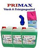 3 x 10 Liter Primax Flüssigwaschmittel blau + Microfasertuch und Ausgießer Waschmittel!