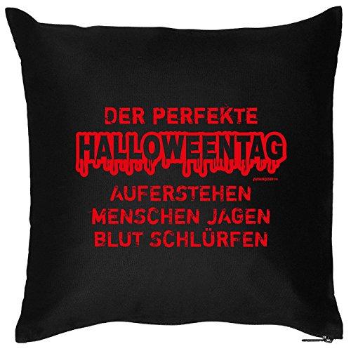 en mit Halloween Motiv: Der perfekte Halloweentag. Aufstehen, Menschen jagen, Blut. - Halloween Deko für Das Wohnzimmer - Couch - Sofa - schwarz ()
