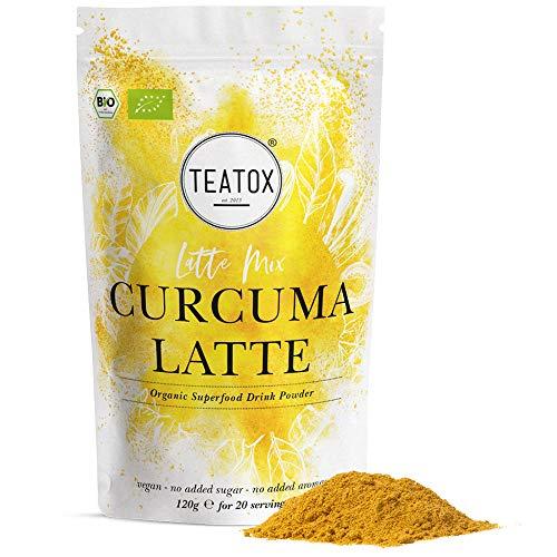TEATOX Kurkuma für leckere Goldene Milch, Curcuma Pulver für Golden Milk, Bio Curcumin Gewürz mit Ingwer, Zimt und Kardamon für Curcuma Latte und Tee,