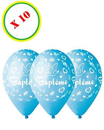 Bolsa de 10 globos bautizo, color azul