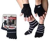 Juego de calcetines y guantes, para cualquier tipo de Yoga o Pilates, de YogaAddict, Full Toe Yoga Socks, Black with Grippy Lines