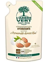 L'arbre vert Bien-être Recharge Crème Lavant Mains Amande Bio aux Bienfaits d'Aloé Vera Bio/Extraits d'Amande...