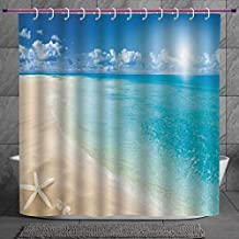 Cool Shower Curtain 2.0 [ Beach,Sunny Summer Seashore with Clear Sky Seashells Starfish Clouds Aquatic Picture,Aqua Cream Blue ] Digital Print Polyester Fabric Bathroom Set