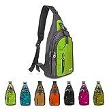 carqi Sling Schulter Rucksäcke Taschen Umhängetasche Rucksack für Wandern Reise Camping oder Mehrzweck-Daypacks Mann Frauen Mädchen, 19,1x 38,1x 10,2cm, grün