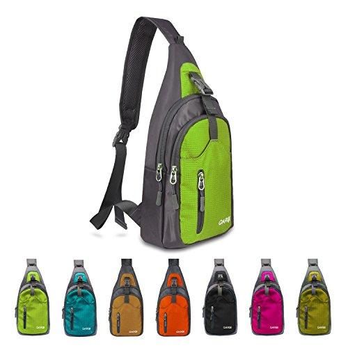 carqi Sling Schulter Rucksäcke Taschen Umhängetasche Rucksack für Wandern Reise Camping oder Mehrzweck-Daypacks Mann Frauen Mädchen, 19,1x 38,1x 10,2cm, grün (Sling Purse Bag)