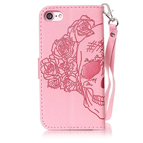 Custodia per Apple iPhone 7, ISAKEN Custodia in Sbalzato Embossed Design PU Pelle Book Folding Case Glitter Bling Cover, Supporto Stand e Porta Carte Integrati Portafoglio Flip Cover con Chiusura Magn cranio:rosa