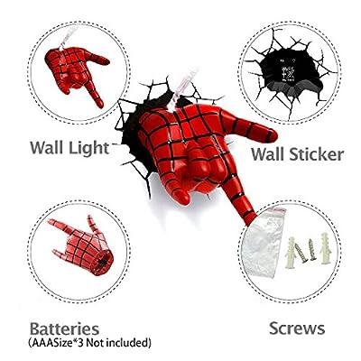Jessecos® Marvel Avengers Spider Man Hand Night Light Art FX Room Decor 3D Deco Wall LED