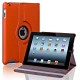 Liroyal PU Leather 360 Degree Rotating Stand Case Cover for The iPad2 3 4 Orange