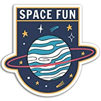2 x 10cm Space Fun Vinyl Stickers - Saturn Planet Kids Sticker Laptop #17563