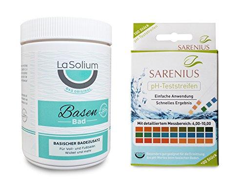 Basisches Entschlackungsbad mit Mineralerde/Kaolin (650g) + pH-Teststreifen (Messbereich 6-10) - Basenbad Starter-Paket -