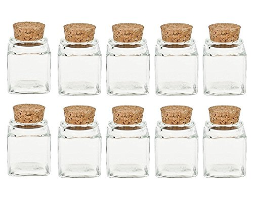 Gewürzgläser Set mit Press-korken | 10 teilig | Füllmenge 50 ml | Cub Eckig Hochwertiges Glas | Glasdose Glasgefäß ideal für Salz Pfeffer Sonnenblumenkerne kürbiskerne Kandis Bonbons Korkengläser