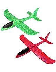 Crazy-M 2 Pezzi Aereo in polistirolo, alianti Volanti, Manuale Alianti Bambini Aereo Giocattolo Outdoor Tiro Aliante Tiro Volare in plastica Aereo Bambini Compleanno ca.36cm