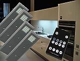 LED Unterbauleuchten 4-er Set Dimmbar Fernbedienung warm weiß /2475-4/4154möb/ Schrankleuchte Möbelbeleuchtung Aufbauleuchte
