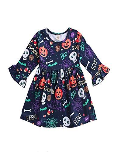 Ansenesna Halloween Kostüm Baby Mädchen Kürbis Skelett Spider Web Drucken Bunt Cartoon Kleid (80, Mehrfarbig)