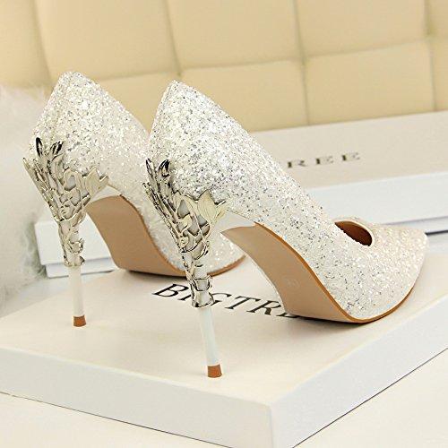 Xue Qiqi Leder Silber Spitze des high-heel Schuhe fein mit Farbverlauf einzelne Schuhe Frauen Schuhe White Gold Hochzeit, 36,