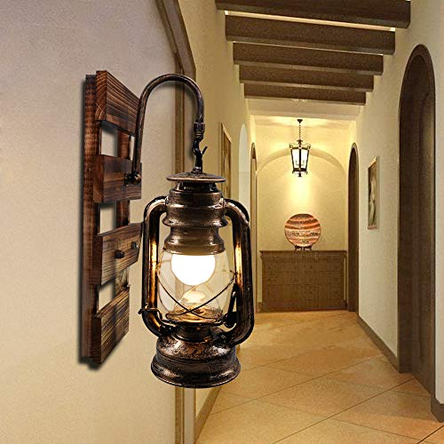 Lámpara de queroseno rústico Artpad montado en la pared, gancho E27, lámpara de pared...