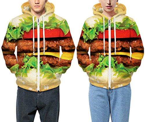 Pretty321 Women Girl Big Hamburger Vegetable Meat Zipper Fleece Hoodie Sweatshirt Amazon