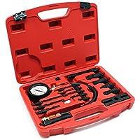 6 Teile mit rotem Koffer Material: C45 Stahl Geh/äusegr/ö/ße: 30 x 19,5 x 6 cm Kompressionsdruckpr/üfer Kompressionstester-Set Todeco