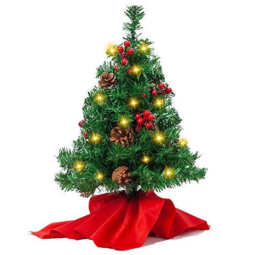 JOYIN Joiedomi - Mini Sapin de Table Préimprimé de 20 po avec Feuilles de Houx et Pommes de Pin et Lampes à DEL Blanches et Chaudes dans un Sac en Tissu Rouge pour Meilleures Décorations de Noël