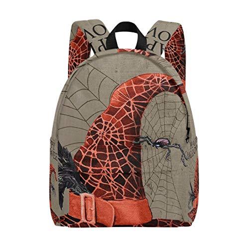 k Leichte Happy Halloween Spinnennetz Hexe Hut Rucksack Leinwand Buch Tasche für Jungen mädchen ()